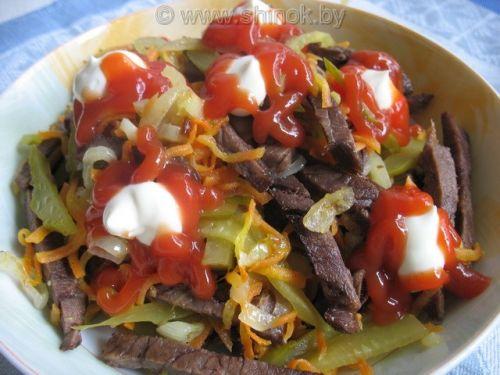 Рецепт салата мужской каприз с говядиной с